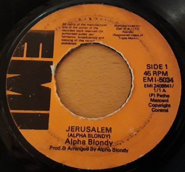 Alpha Blondy And The Solar System - Jerusalem / Brigadier Sabari
