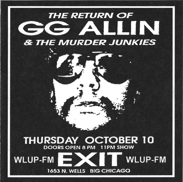 Gg Allin - WLUP-FM Chicago, IL October 10-11, 1991