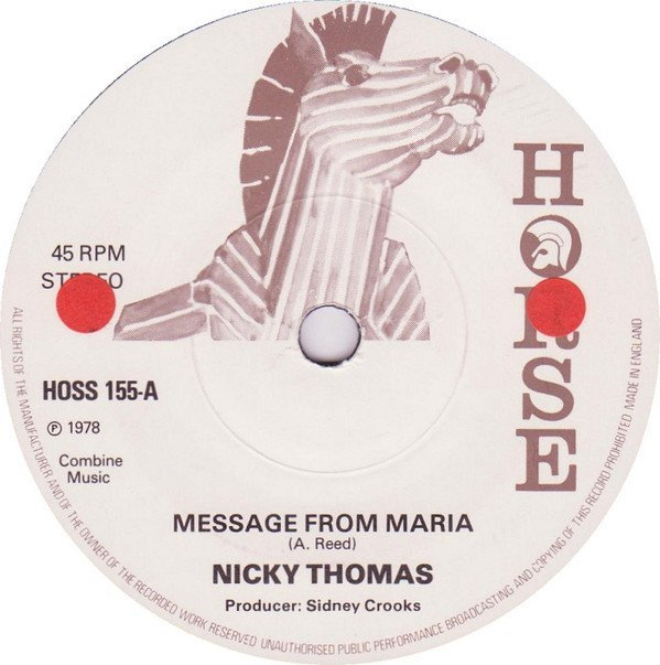 Nicky Thomas - Lonely For Your Love / Message From Maria