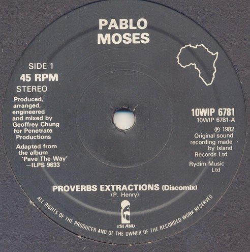 Pablo Moses - Proverbs Extractions / Music Is My Desire