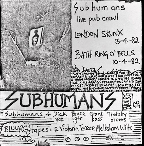 The Subhumans - Subhumans Live London Putney White Lion